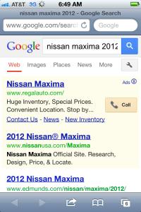 Google Mobile Search Results- Feb 20 2013
